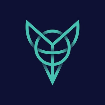 Minimal animal fox логотип иконка линия модерн