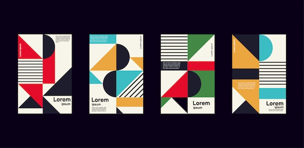 Minimal annual report of bright color geometric design collection