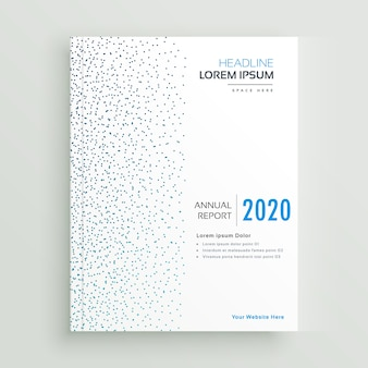Minimal annual report brochure design with blue dots