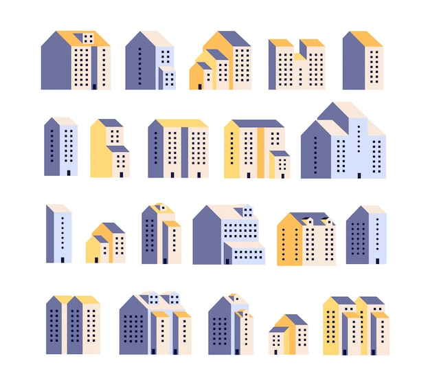 Minimal apartment houses. residential buildings, urban city homes, town graphic. architecture   elements
