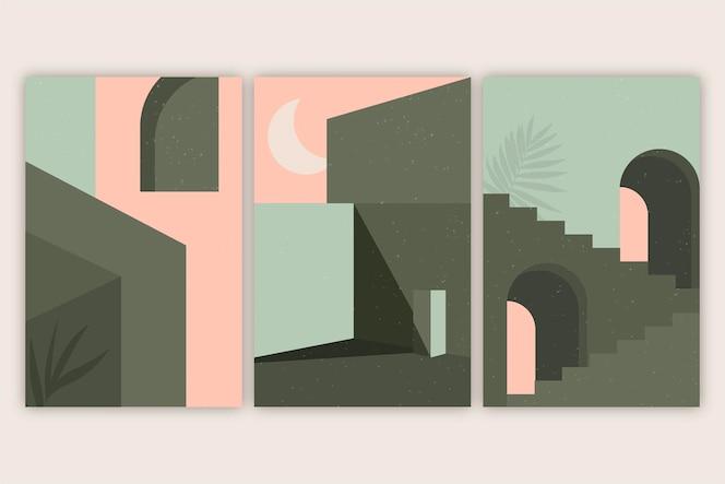 Pacchetto di copertine di architettura minimale