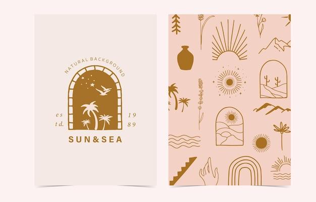 Минимальный фон с солнцем, рукой, цветком
