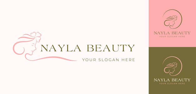 Minimal beauty woman face logo design