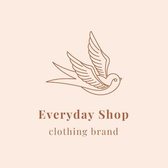 Minimal bird logo template for organic brands in earth tone