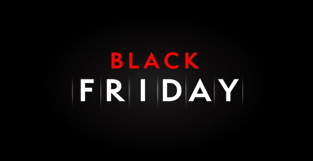 最小限のブラックフライデーセールバナーダークデザインテンプレート。 11月のショッピングプロモーション、小売割引広告、格安購入発表シンプルなポスターベクトルイラスト