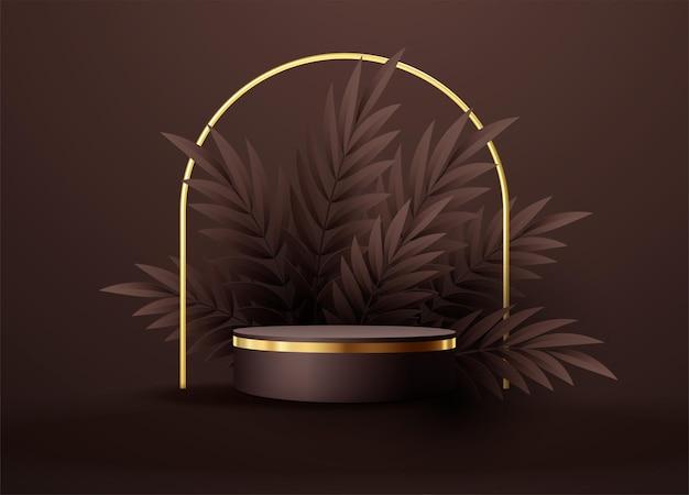 幾何学的な形とヤシの葉の最小限の黒いシーンは、円筒形の金と黒の表彰台を残します