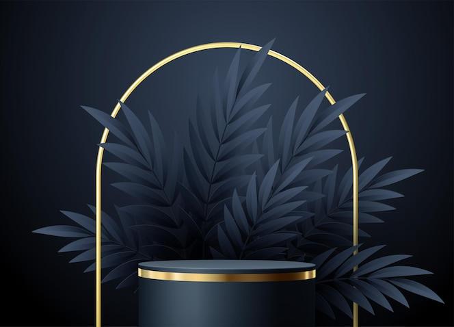 幾何学的な形とヤシの葉を持つ最小限の黒いシーン。エレガントな製品展示