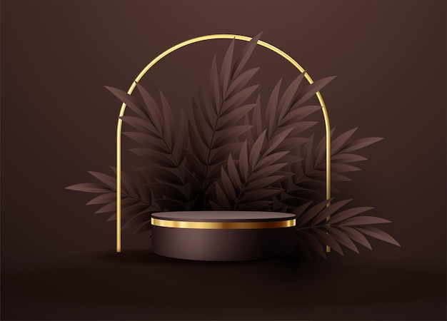 Minimal black scene with geometric shapes and palm leaves cylindrical gold and black podium