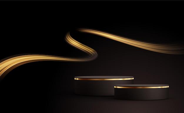 金色の線のある最小限の黒いシーン。黒の背景に円筒形の金と黒の表彰台。化粧品を展示するための3dステージ