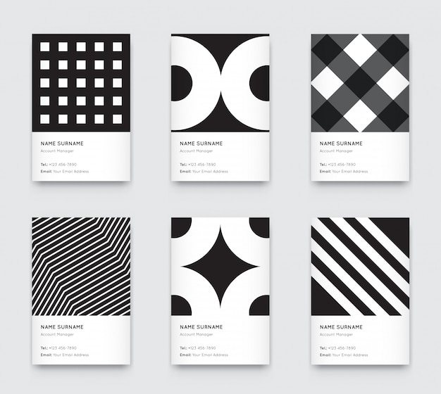 Minimal black and white graphic trendy vertical business cards set