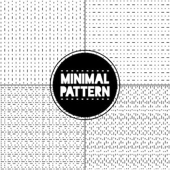 Minimal black and white stitch pattern set of 4