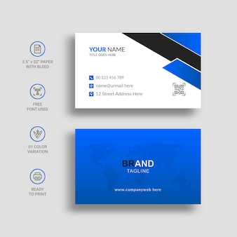 Minimal blue and black business card with awesome gradient color