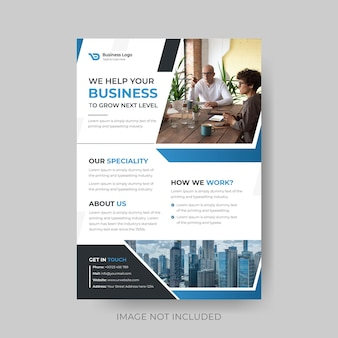 Minimal blue and black business flyer design in vector