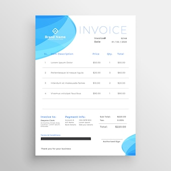 Minimal blue business invoice template