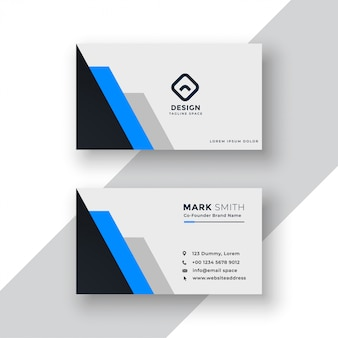 Minimal blue geometric business card design