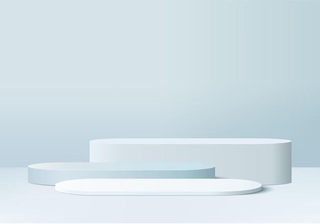 최소한의 파란색 연단과 3d 렌더링 장면