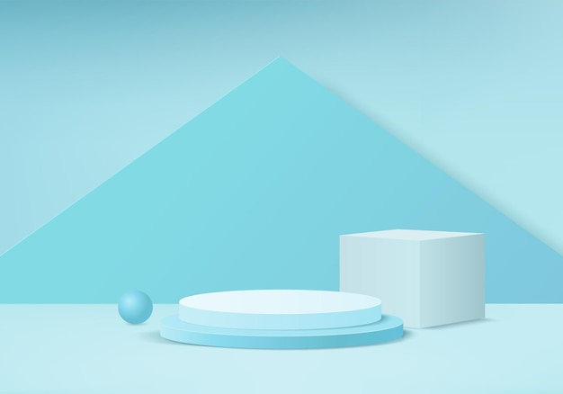 Minimal blue podium and scene with 3d render in abstract background composition 3d illustration mock up scene geometry shape platform forms for product display stage for product