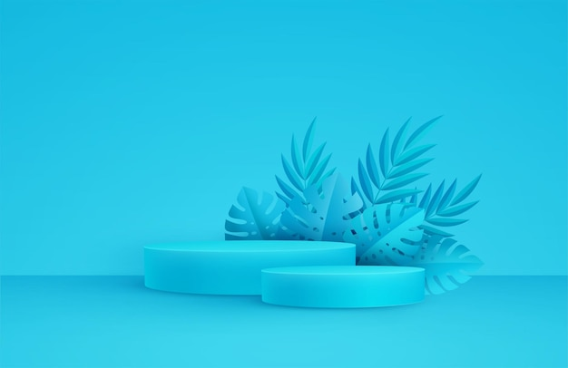 Минимальная синяя сцена с круглой платформой и пальмовыми листьями