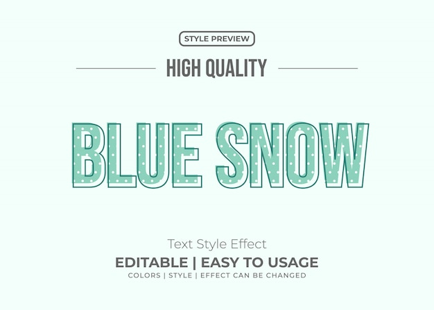 Minimal blue text style with snow texture effect
