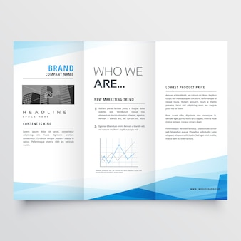 Minimal blue trifold brochure layout background