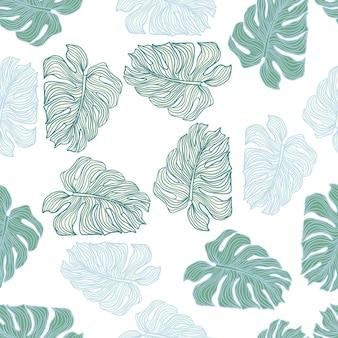 最小限の植物の葉のシルエットの白い背景のシームレスなパターン。熱帯モンステラの葉の背景。布、テキスタイルプリント、包装紙のデザイン。ベクトルイラスト