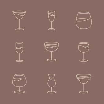 最小限のブランデーガラスグラフィックラインアートセット