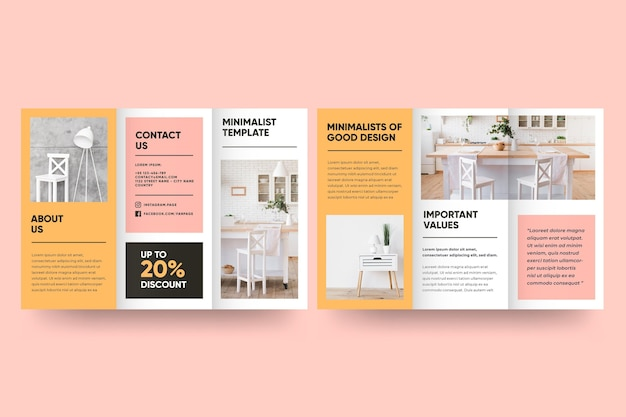 Minimal brochure template with front and back