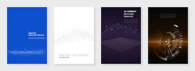 Минимальные шаблоны брошюр. визуализация больших данных с линиями и точками
