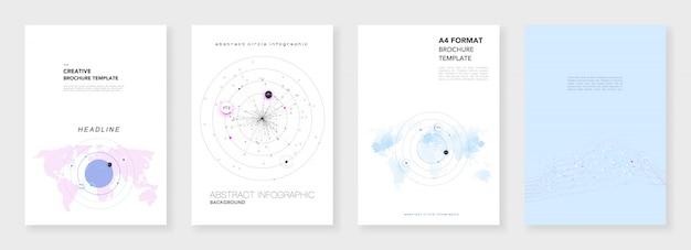 Минимальные шаблоны брошюр. инфографики элементы на белом. научно-фантастическая технология