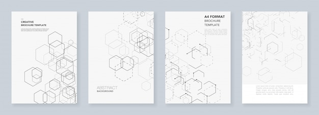 Minimal brochure templates with hexagons and lines on white.