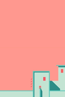 Minimal building on a peach background
