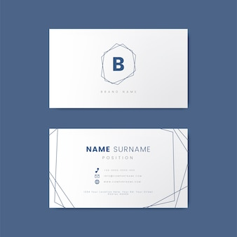 Minimal business card design with geometric shapes