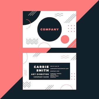 Minimal business card in memphis style