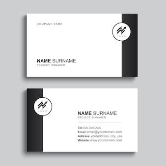 최소한의 명함 인쇄 템플릿 디자인. 검은 색과 간단한 레이아웃.
