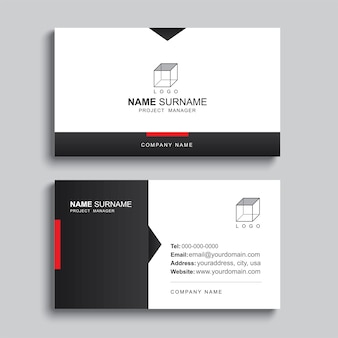 Minimal business card print template design. black and red color
