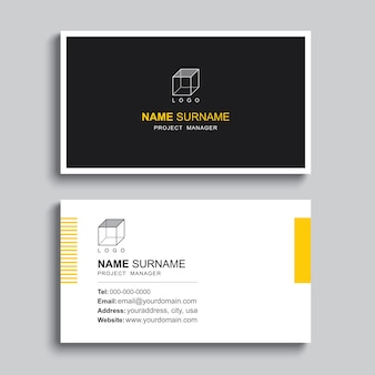 Minimal business card print template design. simple clean layout.