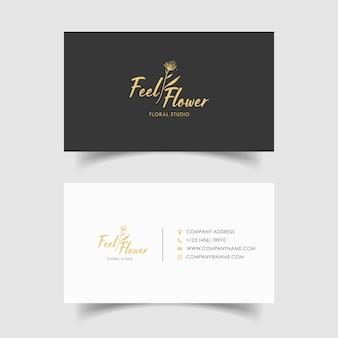 最小限の名刺テンプレート、花の結婚式のデザイン。