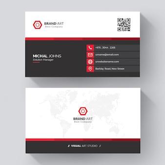 Минимальный шаблон визитной карточки с красными деталями Premium векторы