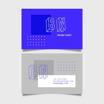 Minimal business card with blue and grey