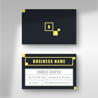 Minimal business card with blue and yellow