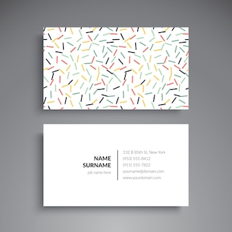Minimal business card with colorful short lines
