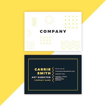 Minimal business card with memphis elements