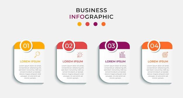 最小限のビジネスインフォグラフィックテンプレート。 4ステップのタイムライン。