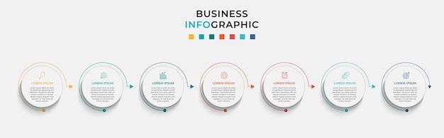 Минимальный деловой инфографический шаблон. хронология с 7 семью шагами, параметрами и значками маркетинга