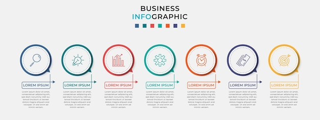 Minimal business infographics template. timeline with 7 seven steps, options and marketing icons