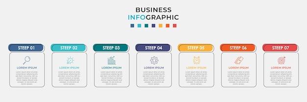 최소한의 비즈니스 인포 그래픽 템플릿입니다. 7 단계, 옵션 및 마케팅 아이콘이 포함 된 타임 라인