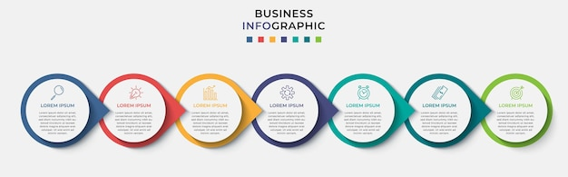 最小限のビジネスインフォグラフィックテンプレート。 7つのステップ、オプション、マーケティングアイコンのタイムライン