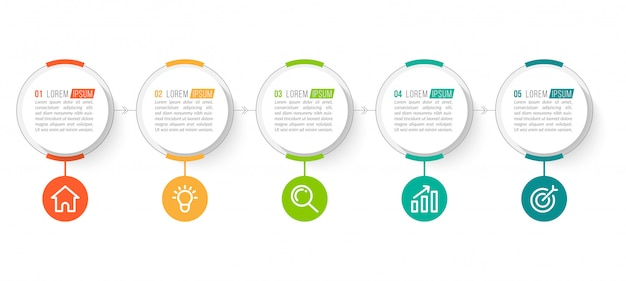 5 단계 최소한의 비즈니스 인포 그래픽 템플릿