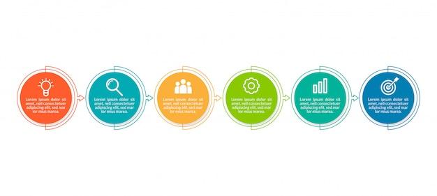 6ステップの最小限のビジネスインフォグラフィックテンプレート