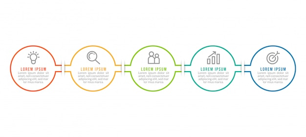 Minimal business infographics template with five steps